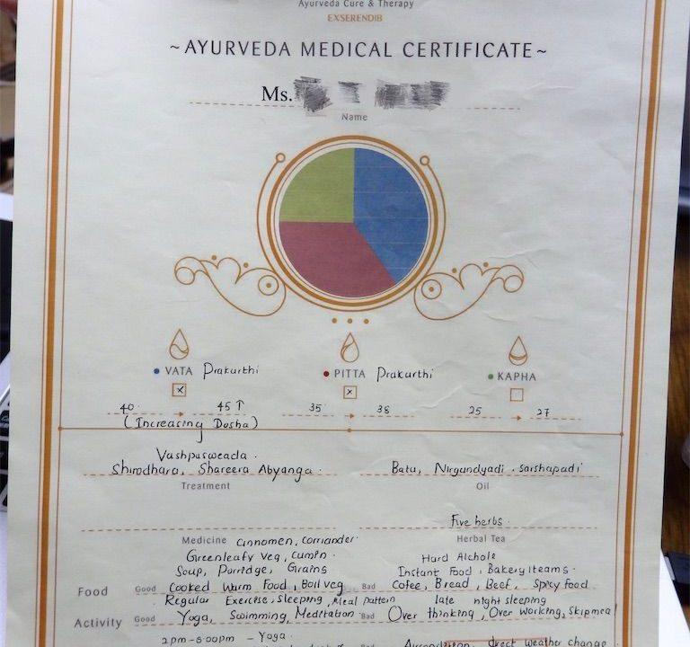 ExSerendib Ayurveda Cure & Therapyオリジナル診断書